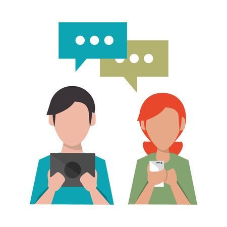 couple with cellphone and laptop and speech bubble icon cartoon vector illustration graphic design Illustration