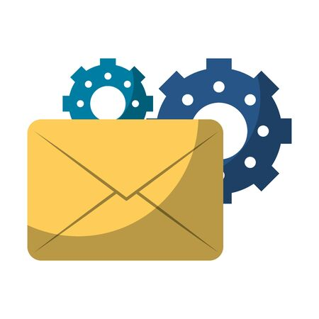 Email and gears symbols vector illustration graphic design