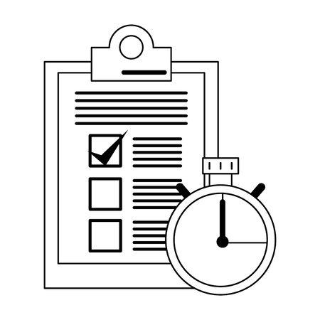 Clipboard checklist document and timer symbol vector illustration graphic design Illustration