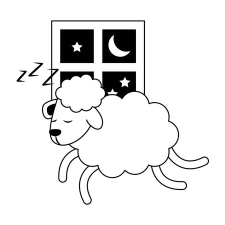 Sleeping and resting sheep jumping window cartoons vector illustration graphic design