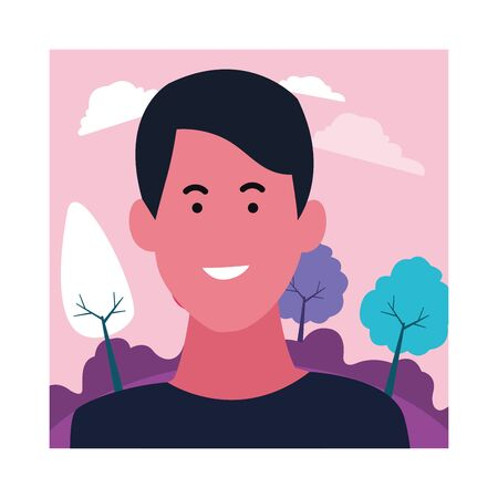 Young man smiling profile cartoon in the nature forest frame