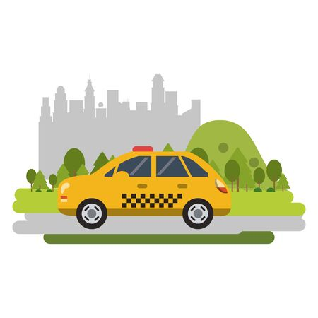 Taxi cab vehicle isolated passing by city vector illustration graphic design
