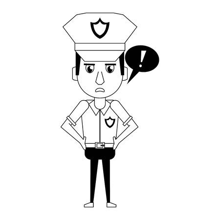 policeman working with speech bubble avatar cartoon character portrait vector illustration graphic design