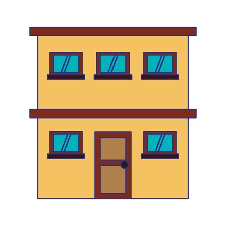 Urban building two floors cartoon vector illustration graphic design