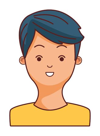 young man face character cartoon vector illustration graphic design Illustration