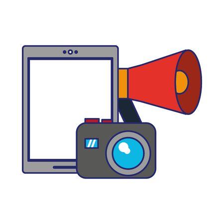 cellphone peripone and camera icon cartoon vector illustration graphic design Ilustrace