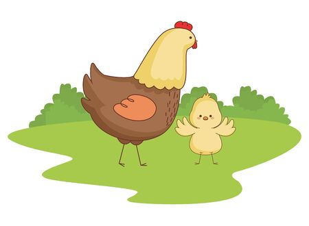 Happy farm animals hen and chick easter season drawing  on grass with trees round icon scenery vector illustration graphic design Illustration