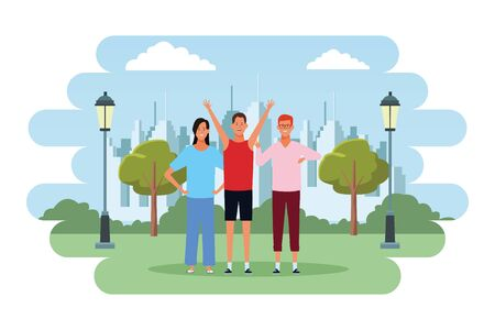 people avatars cartoon characters hands up arms in the hips wearing glasses  in the city park scenery Ilustrace
