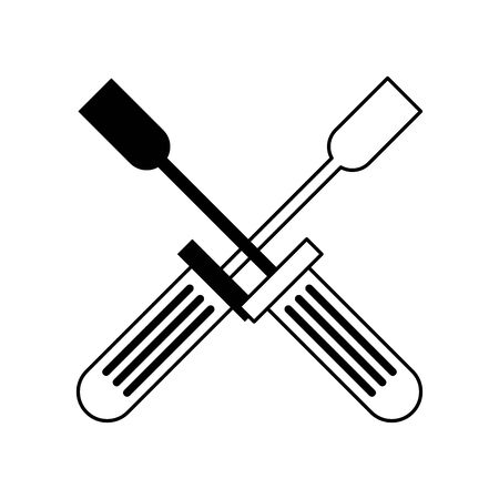 Screwdriver tools crossed symbol isolated vector illustration graphic design