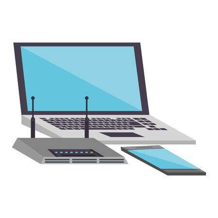 Laptop and smartphone with wifi router device vector illustration graphic design
