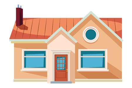 house building with chimney icon cartoon isolated vector illustration graphic design Illustration