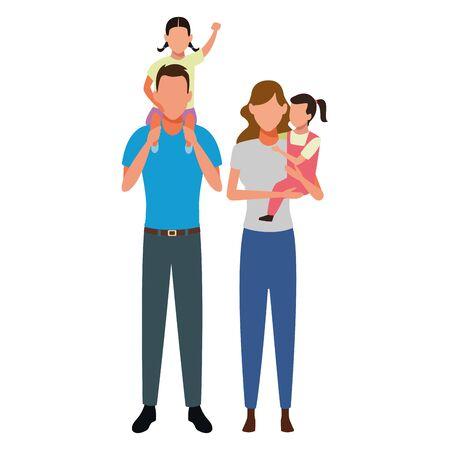 family avatar cartoon character couple with  children vector illustration graphic design vector illustration graphic design Stock Vector - 124897739