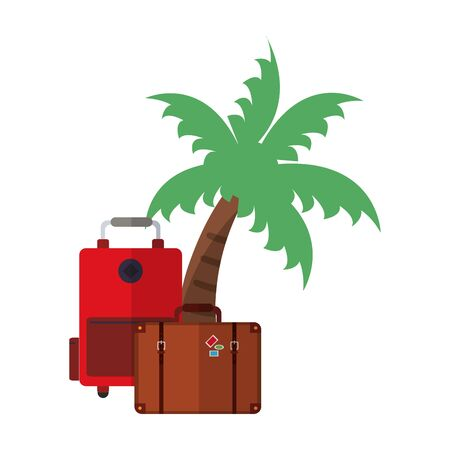 Vacations and travel luggage and palm tree vector illustration graphic design  イラスト・ベクター素材