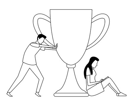 Coworkers pushing trophy cup and woman seated with laptop teamwork cartoon vector illustration graphic design 스톡 콘텐츠 - 124855632