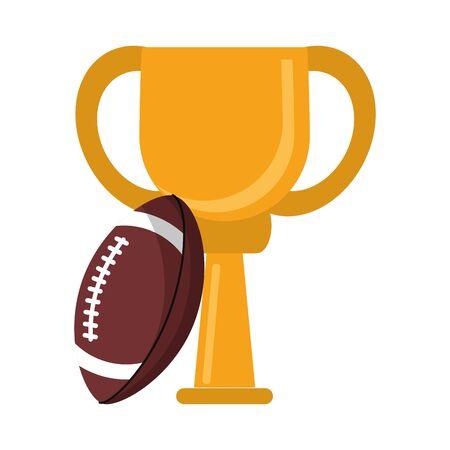 American football trophy cup cartoon Foto de archivo - 124855091