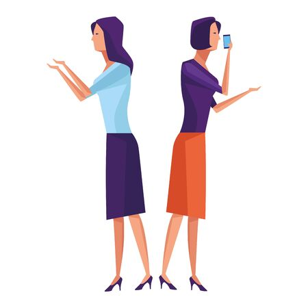 women speaking through cellphone icon cartoon vector illustration graphic design Ilustrace