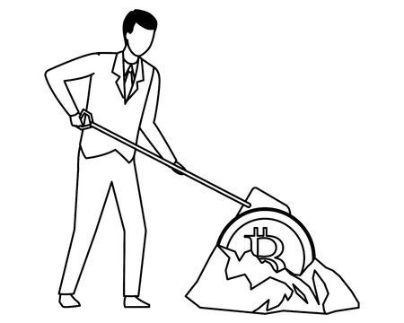businessman and cryptocurrency embedded in the ground bitcoin and shovel black and white vector illustration graphic design Ilustrace