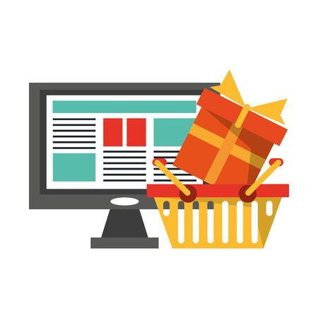Online shopping and payment symbols vector illustration graphic design Illustration
