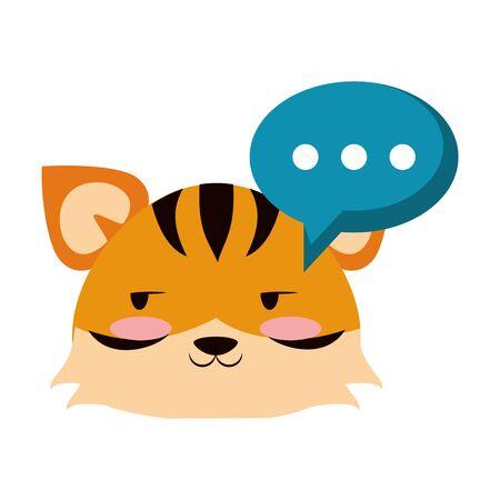 Cute tiger with speech bubble animal cartoon  vector illustration graphic design
