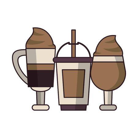 coffee cafe concept coffee shop elements ice drinks cartoon vector illustration graphic design Stok Fotoğraf - 124901024