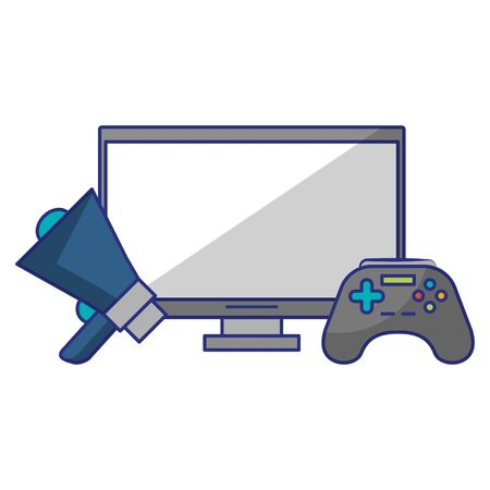 computer with peripone and control icon cartoon vector illustration graphic design