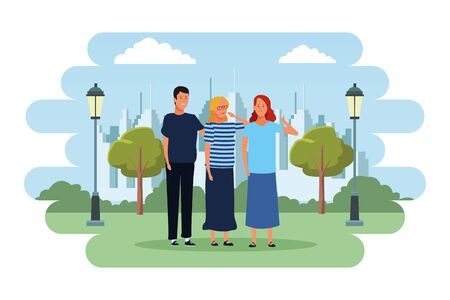 people avatars cartoon characters thumb up open arms wearing glasses  in the city park scenery