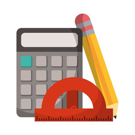 School utensils and supplies calculator and pencil with ruler