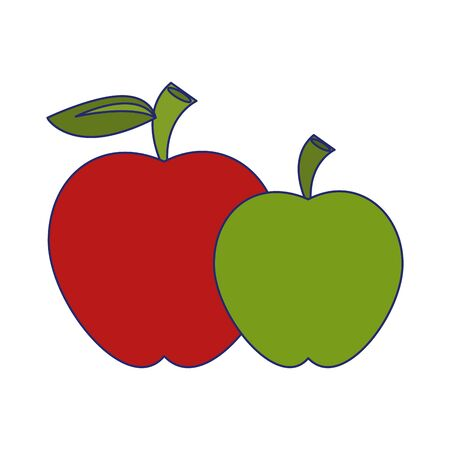 Apples red and green fruits cartoon isolated fruits healthy food vector illustration graphic design