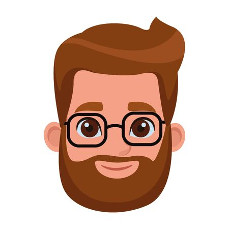 young man with beard wearing glasses profile picture avatar cartoon character vector illustration graphic design Archivio Fotografico - 124885086