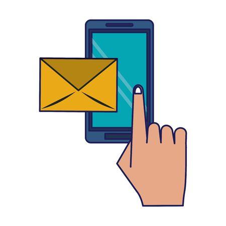hand using smartphone for email sending vector illustration graphic design