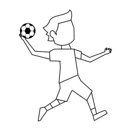 handball player with ball avatar vector illustration graphic design