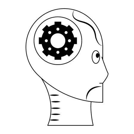 humanoid cyborg size view head with gear avatar cartoon character vector illustration graphic design Иллюстрация