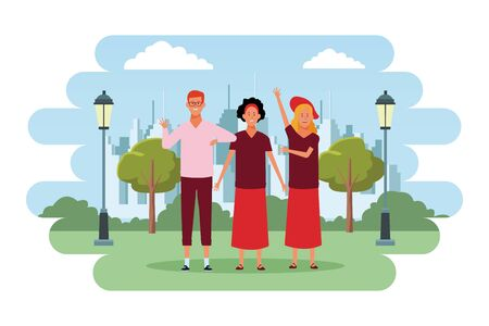 people avatars cartoon characters hand up open arms wearing hat glasses headband  in the city park scenery Иллюстрация