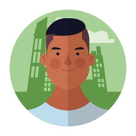 young man face cartoon over cityscape building round icon vector illustration graphic design Reklamní fotografie - 124902710