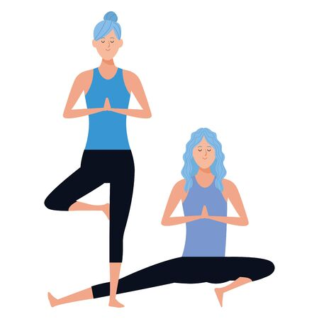 women yoga poses avatar cartoon character vector illustration graphic design Illustration