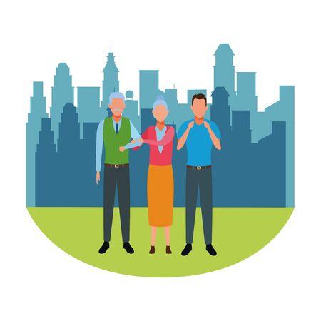 elderly couple and man avatar cartoon character cityscape skyscraper vector illustration graphic design Foto de archivo - 124906229