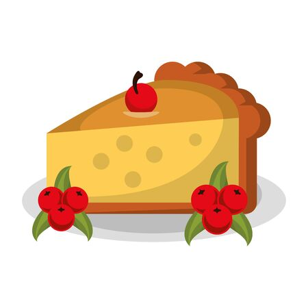 Thanksgiving day food pie dessert with cherry on dish cartoons vector illustration graphic design