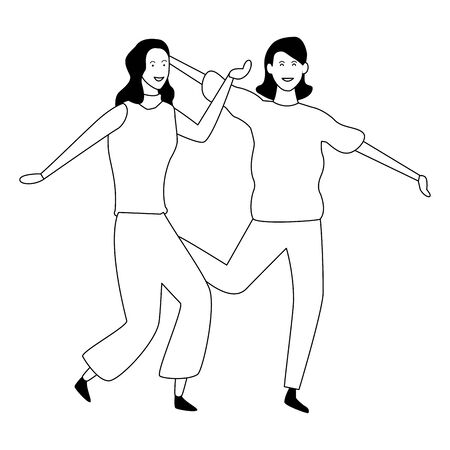 Two women friends dancing and having fun cartoon vector illustration graphic design Banque d'images - 124907871
