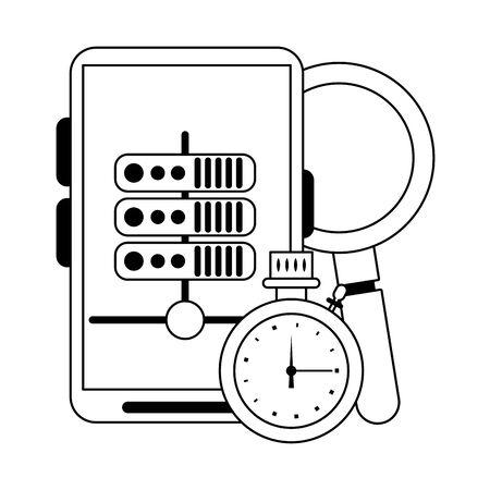 Smartphone servers and cloud computing symbols vector illustration graphic design Banque d'images - 124906592