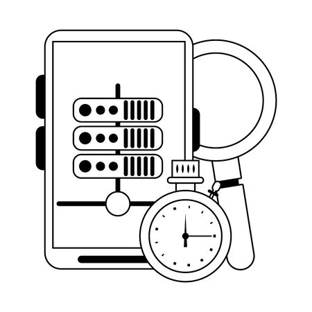 Smartphone servers and cloud computing symbols vector illustration graphic design Illustration