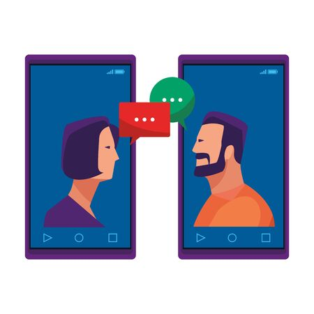 cellphones showing a couple avatar cartoon character portrait and speech bubbles vector illustration graphic design Ilustrace