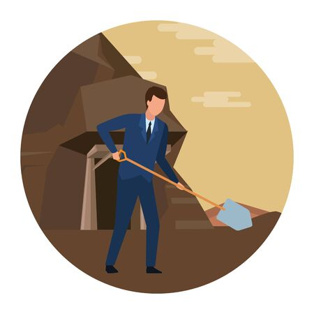 businessman working with shovel  in the mine round icon vector illustration graphic design Ilustrace