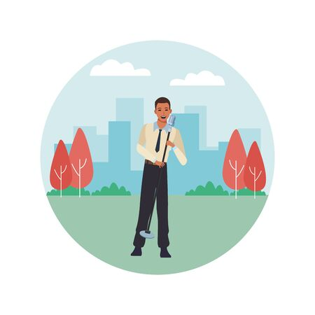 singer with microphone avatar cartoon character in the park cityscape round icon vector illustration graphic design