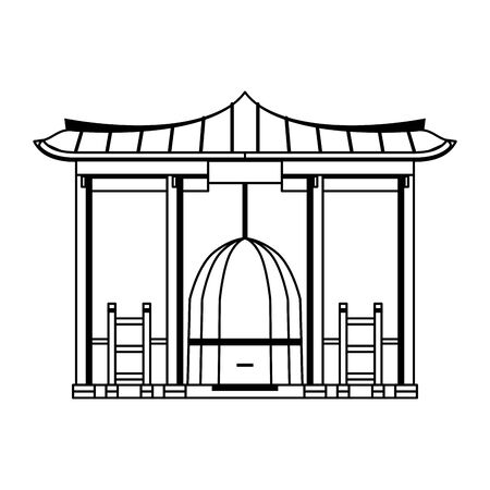 korean gate icon cartoon isolated vector illustration graphic design 向量圖像