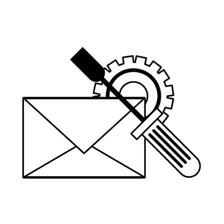 Email technical support tool and gear symbols isolated vector illustration graphic design Illustration