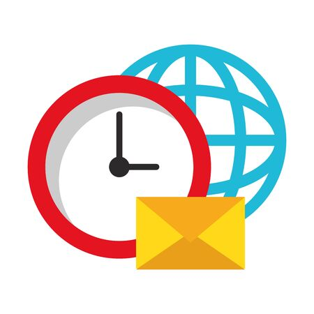 Business and office technology clock and email with global sphere symbols vector illustration graphic design