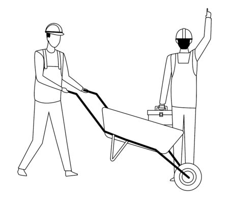 Construction teamwork avatar workers with toolbox and wheelbarrow vector illustration graphic design