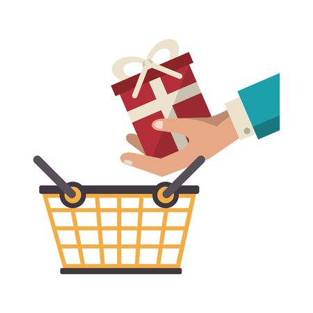 gift box with shopping basket cartoon vector illustration graphic design