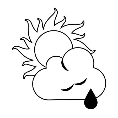 Sun and cloud with raining weather symbol vector illustration graphic design