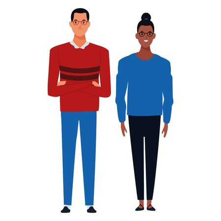 couple avatar cartoon character  with fashion casual clothes vector illustration graphic design Illustration